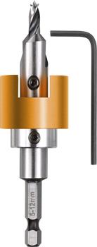 HSS-M2 Hartholzbohrer mit verstellbarem Tiefenstopp und Senker