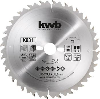 Kreissägeblatt für Bau- und Tischkreissägen 315 mm