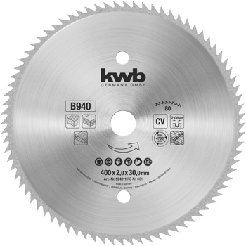 Kreissägeblatt für Bau- und Tischkreissägen ⌀ 400 mm