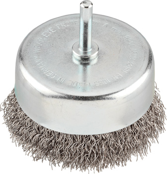 Cup brush, extra heavy duty, HSS steel wire, crimped
