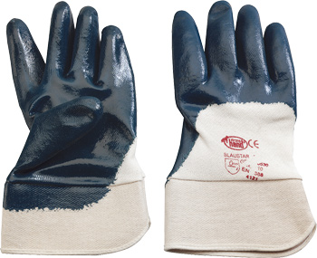 Builder´s glove, cotton-lined nitrile, partly coated, lined interior