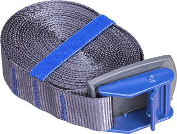 Lashing straps with coloured clamp buckles and protection plate